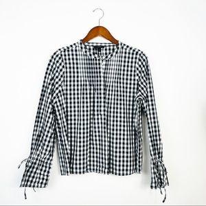 J .CREW Long Sleeve Pintuck Gingham Shirt Medium